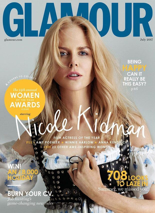 This month, there are not 1 but 4 Glamour Magazine UK covers. The stunning Australian 49 year-old (almost 50) actress – Nicole Kidman covers the first cover of Glamour July 2017 and I like it…