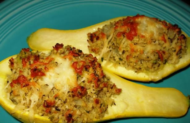 Baked Stuffed Yellow Squash Boats Now that summers here, what a great way to use up all the squash in your garden