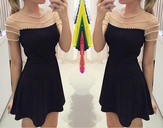 Design Pearl round neck black dress DX91210EW