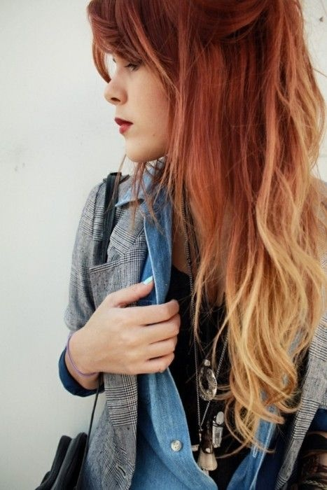Blonde hair red dip dye