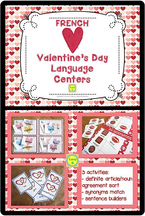 $ French Valentine's Day Language Centers - sorting, matching, unscrambling sentences #français