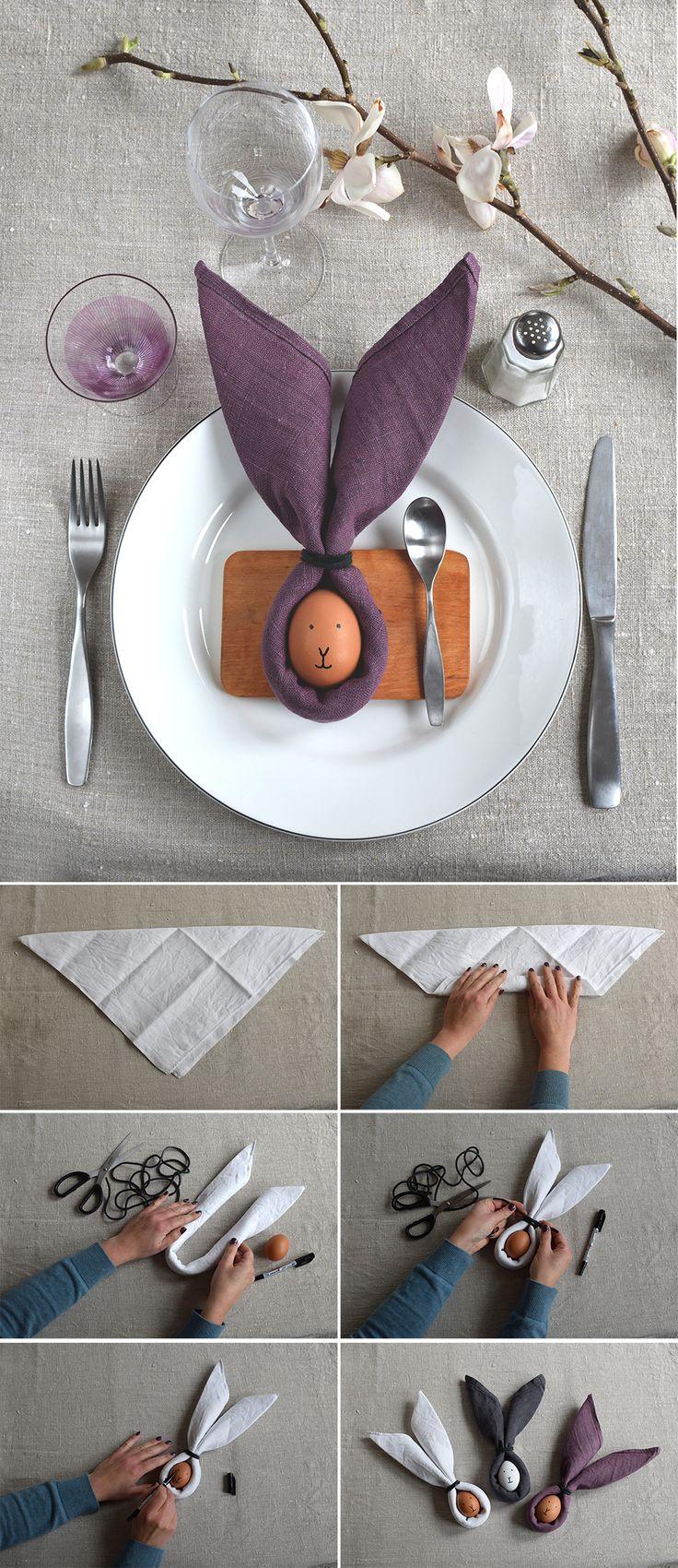 Påskdukning. Med servett och ägg blir påskbordet snabbt och enkelt fint fixat. Table setting för easter. @helenalyth