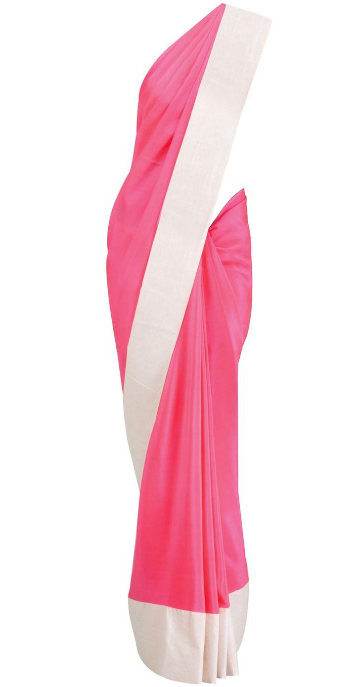 Hot Pink Sari with sheer top by MASABA.