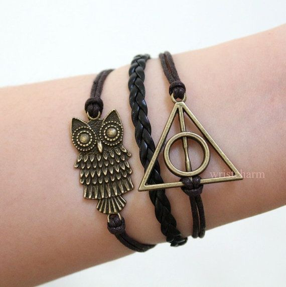 Bracelet- The Deathly Hallows Bracelet / Harry Potter Jewelry / owl bracelet via Etsy