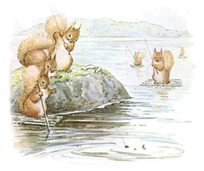 On the third day the squirrels got up very early and went fishing; they caught seven fat minnows as a present for Old Brown. They paddled over the lake and landed under a crooked chestnut tree on Owl Island.