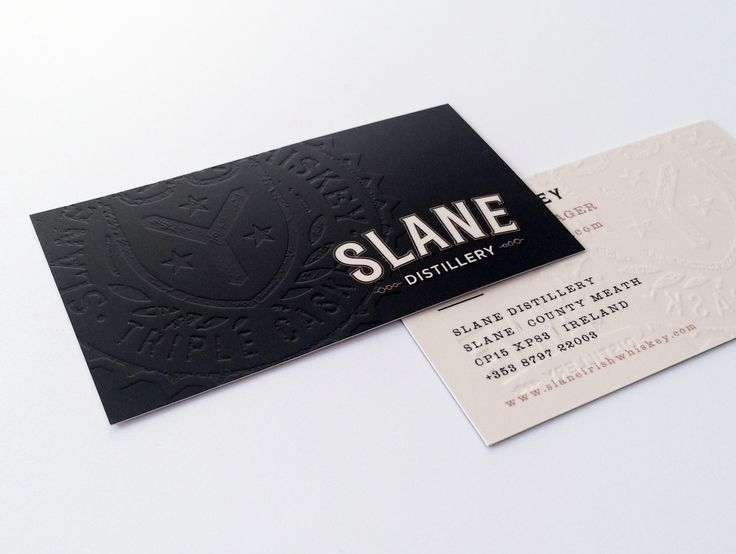 Embossed business card printing for Slane Distillery. We printed these cards on a heavy silk card stock with a soft touch laminate.  Check out all of our business card printing including metallic foil, spot UV varnishing, embossing, die cutting and more.