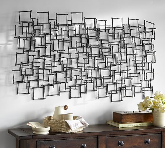 Forged metal sculpture pottery barn dining room south for Dining room metal wall art