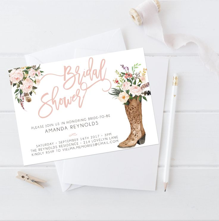 A personal favorite from my Etsy shop https://www.etsy.com/listing/520152137/western-bridal-shower-invitation-country