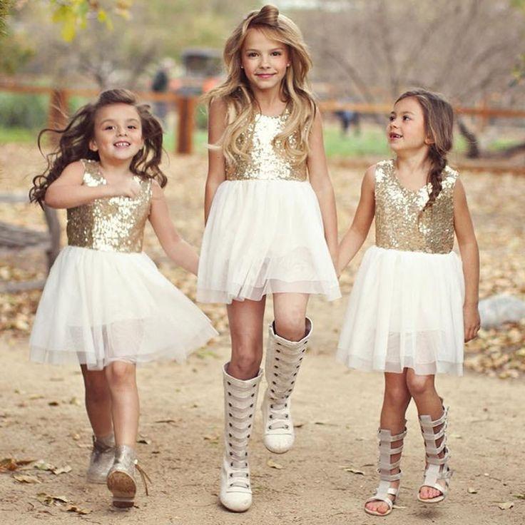 robe pailletée et tulle blanc pour petite fille d'honneur