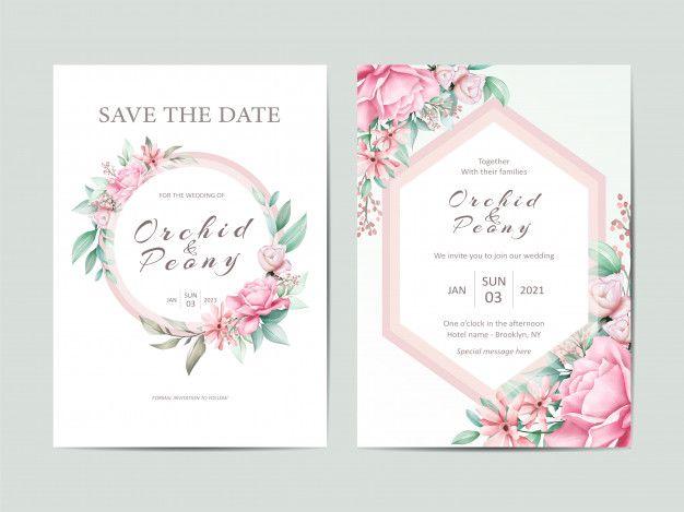 Elegant Wedding Invitation Template Conjunto De Flores De Rosas Em Aquarela Wedding Invitation Sets Floral Wedding Invitation Card Wedding Invitation Templates