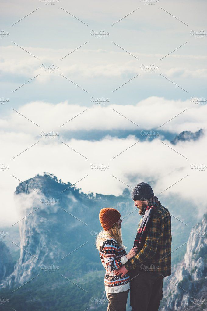 Couple lovers hugging mountains view by e v e r s t on @creativemarket