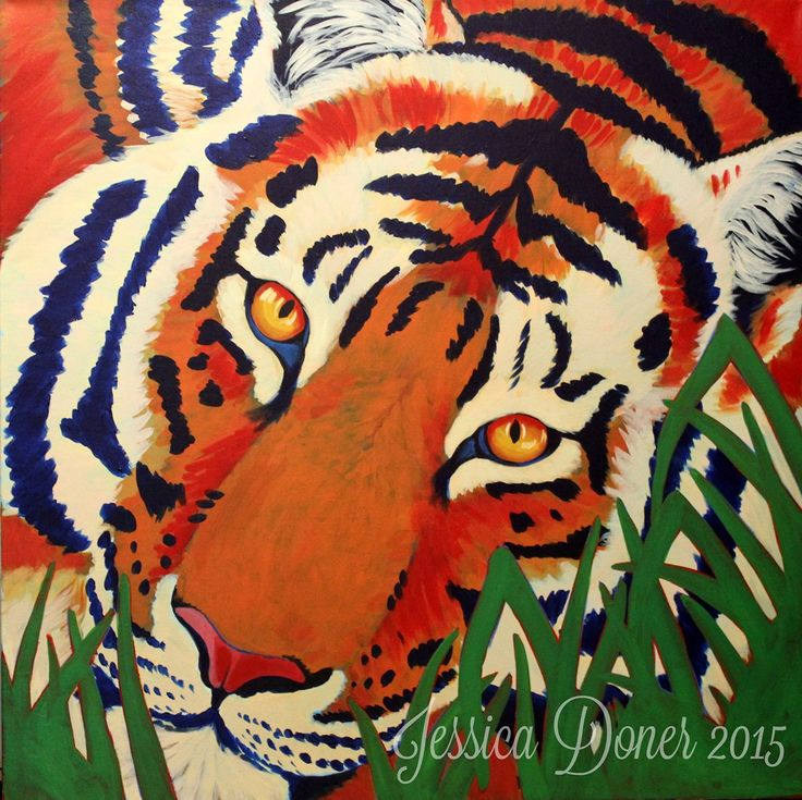 Tiger, Acrylic painting, 3'x3'