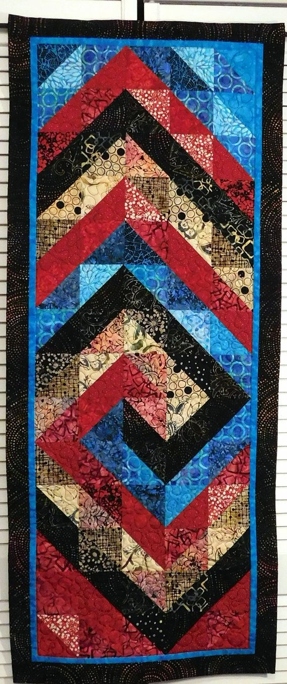 Modern Quilted Batik Table runner Wall by Quiltsbysuewaldrep
