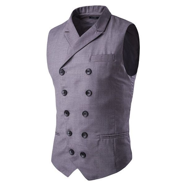 double breasted waistcoats ($27) ❤ liked on Polyvore featuring men's fashion, men's clothing, men's outerwear, men's vests, grey, mens waistcoat vest, mens formal vest, mens double breasted vest, mens faux fur vest and mens v neck vest