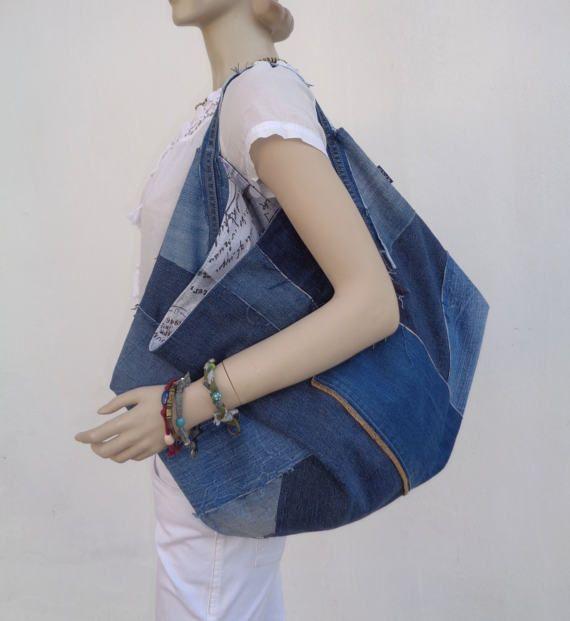 Bolsa de mezclilla grande tote gran tamaño bolso shopper loco