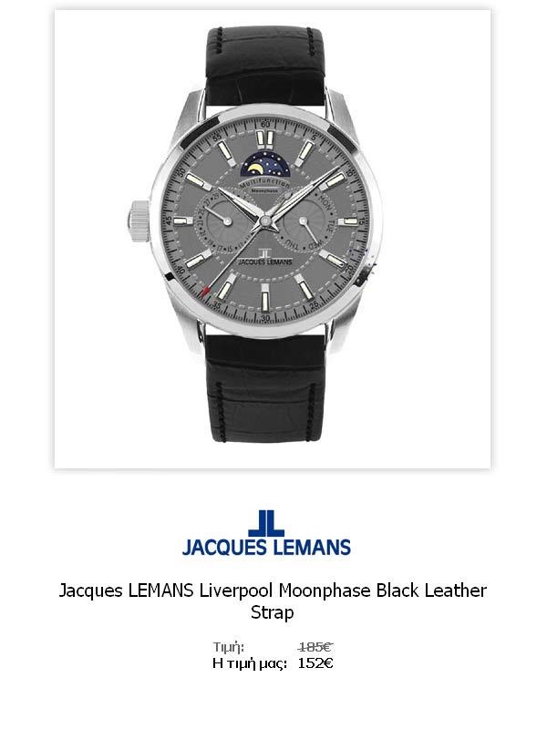 Jacques LEMANS Liverpool Moonphase Black Leather Strap  1-1596A  Όλες οι λεπτομέρειεςτου ρολογιού εδώ   http://www.oroloi.gr/product_info.php?products_id=31774