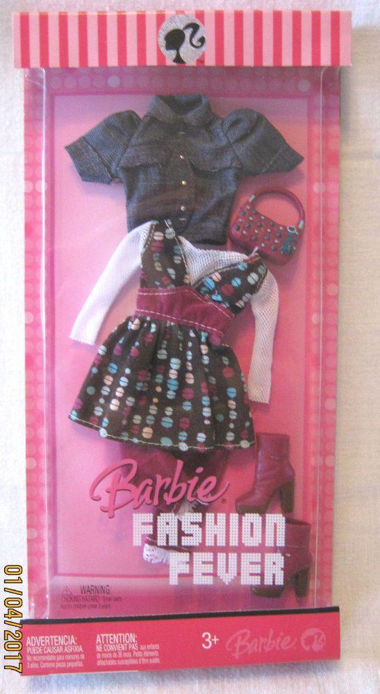 BARBIE FASHION FEVER ~ 2007 ~ MAUVE & BLUE ON BROWN w/JEAN-LIKE JACKET  ~ NEW #Mattel