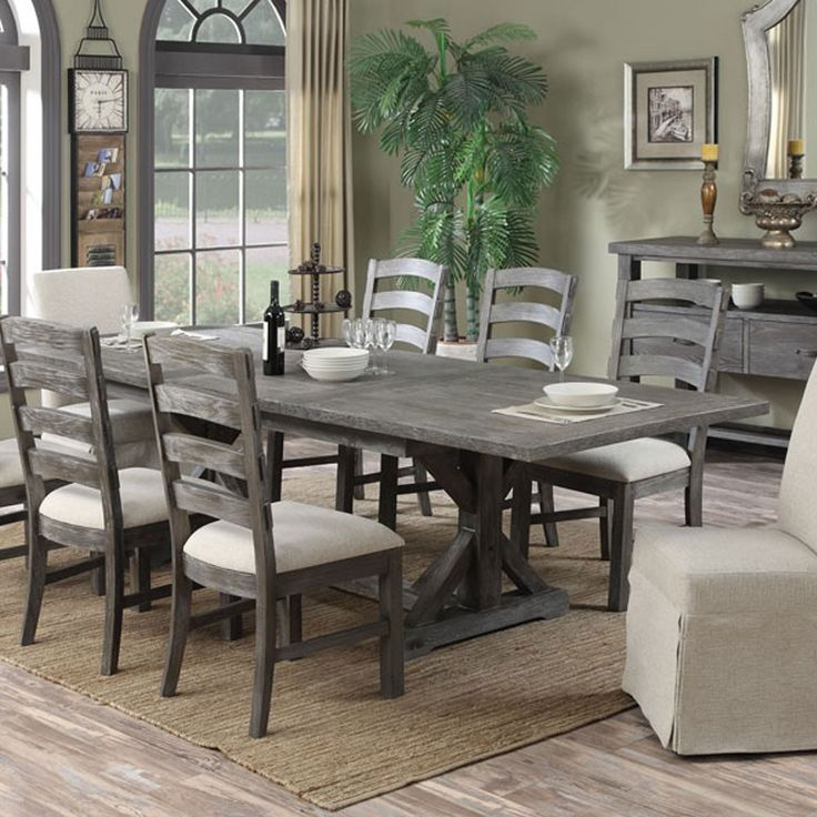 Paladin Wood Rectangular Dining Table In Charcoal By