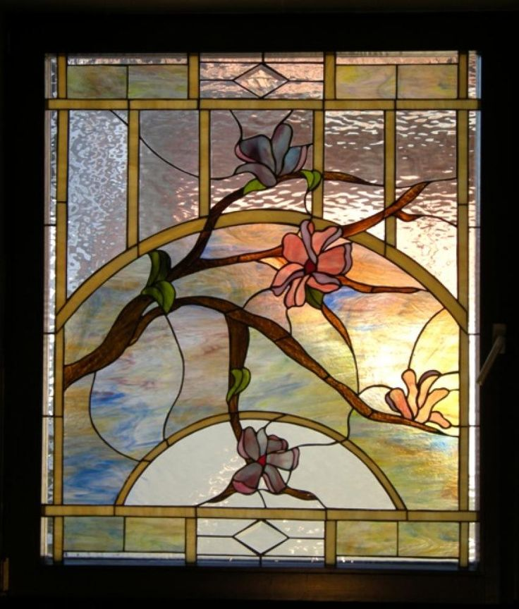 Stained Glass Panel: The Purple Magnolia Copyright by Atelje Vitraz