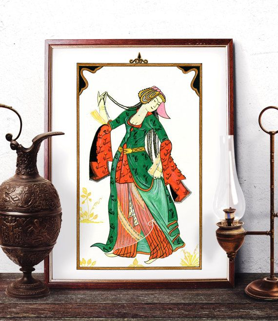 Turkish Miniature Watercolor Painting Ottoman by HermesArts