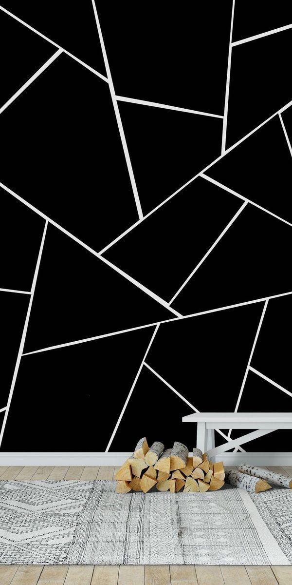 Black White Geometric Glam 2 Wallpaper Wall Murals Mural Stone Wall Design