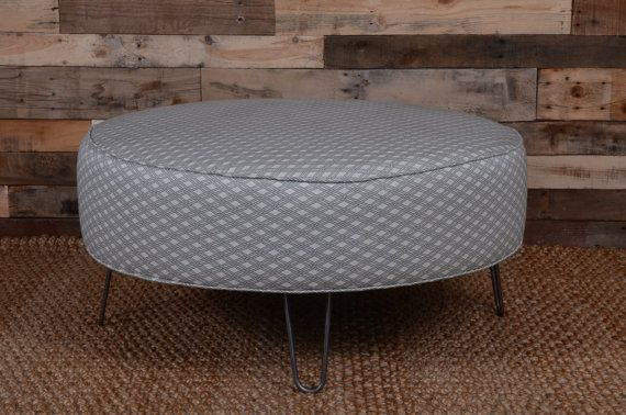 Basketform Spa Upholstered Round Ottoman Ready To Ship With Hairpin Legs Coffee Table Round