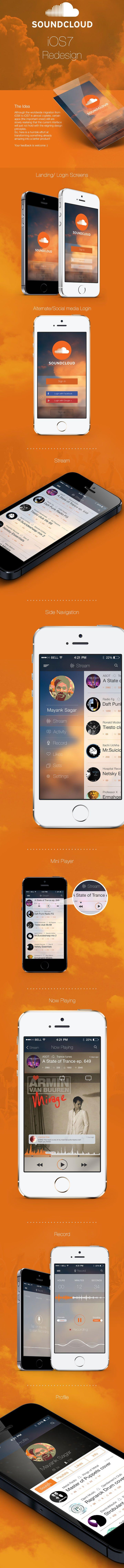 Soundcloud app iOS7 redesign #ui #app #ios