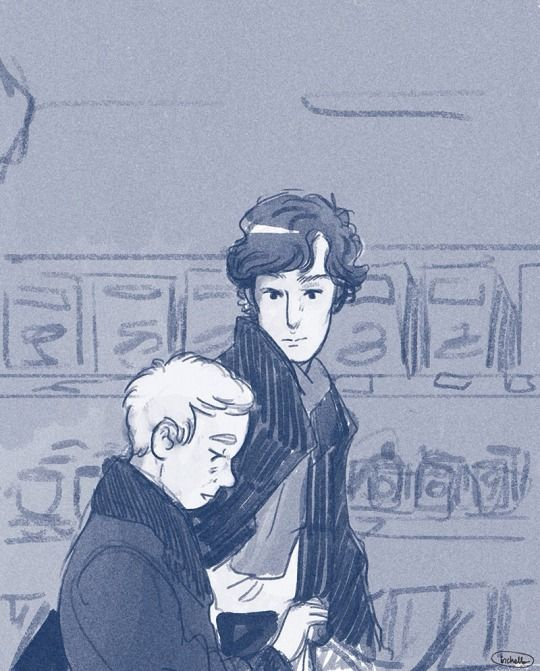 inchells: John and Sherlock fan art.