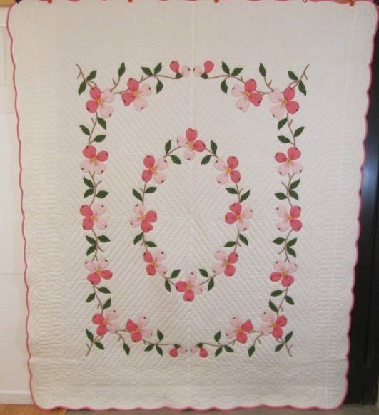 GIFT QUALITY Dogwood Flowers Vintage QUILT Applique Pink Beautiful Quilting | eBay