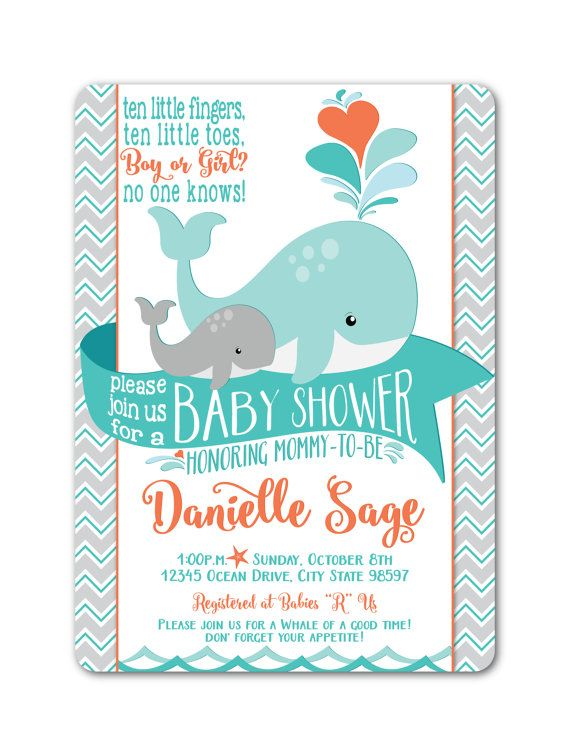 Whale Baby Shower Invitation - Gender Neutral baby shower, baby whale, mommy whale, turquoise, grey, orange, Customize, Printable, DIY #149