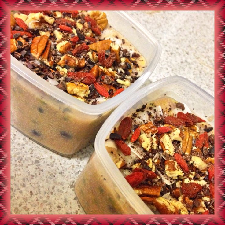 Amaranth porridge with passionfruit and blueberries and topped with pecans, shaved coconut, goji berries and cacao nibs.