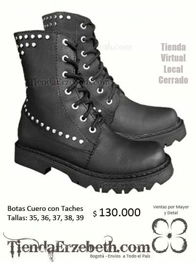botas cuero taches rockera metalera zapatos calzado panama caracas quito lima medellin cali mexico santiago miami new york usa