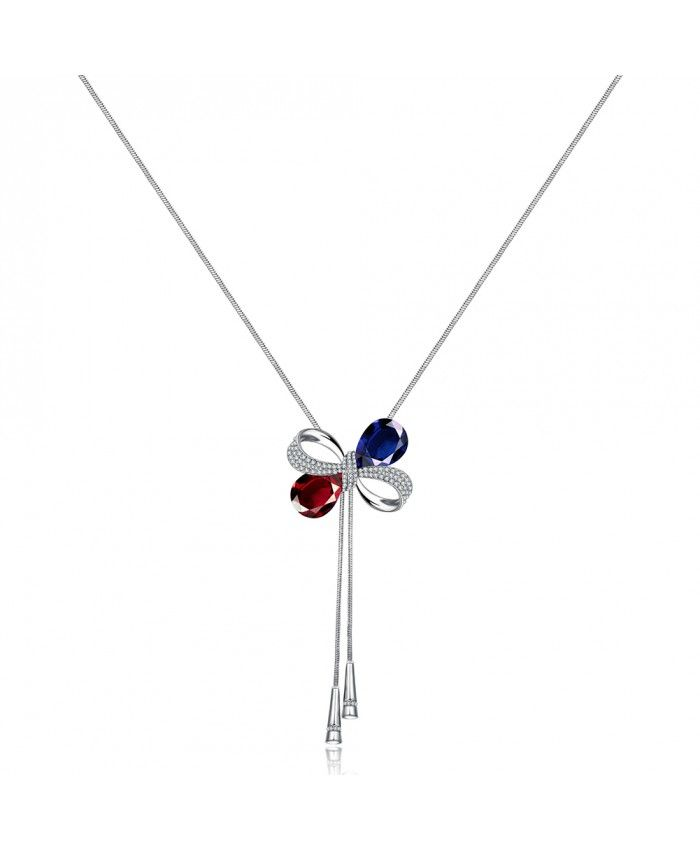 Ouruora Bowknot With Red and Blue Petals Chain Necklace