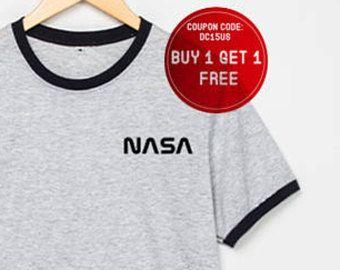 NASA Hemd Pocket Nasa T Shirts Raum Shirts Galaxy T-Shirt Ringer-t-Shirts Geschenk Größe S M L XL - 3XL grau mit schwarz, blau, rot-Trim