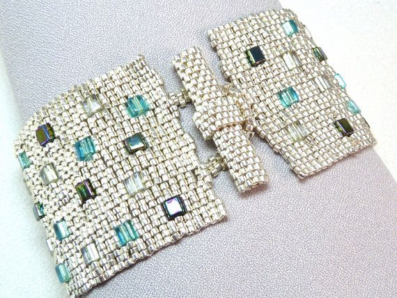 Aquarium Bricks Beadwoven Cuff Bracelet  by littlestonedesign, $59.00