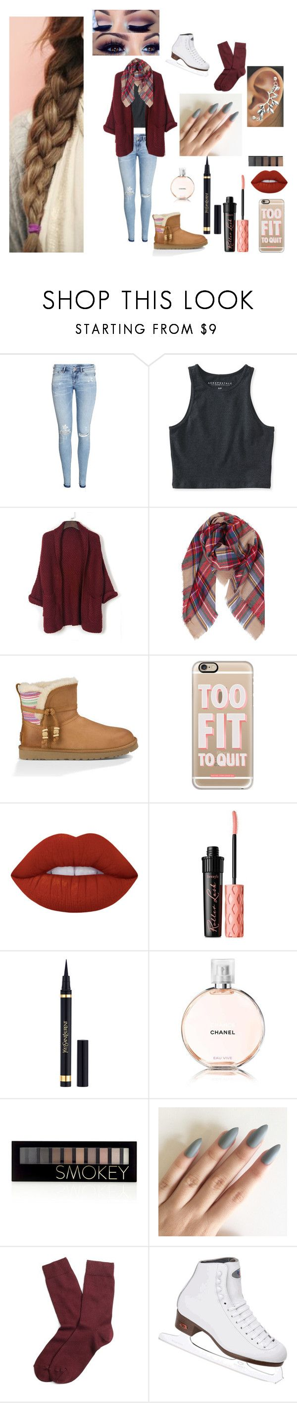 """Ice Skating Date #3"" by madeline-lemon ❤ liked on Polyvore featuring H&M, Aéropostale, WithChic, Humble Chic, UGG Australia, Casetify, Lime Crime, Benefit, Yves Saint Laurent and Chanel"