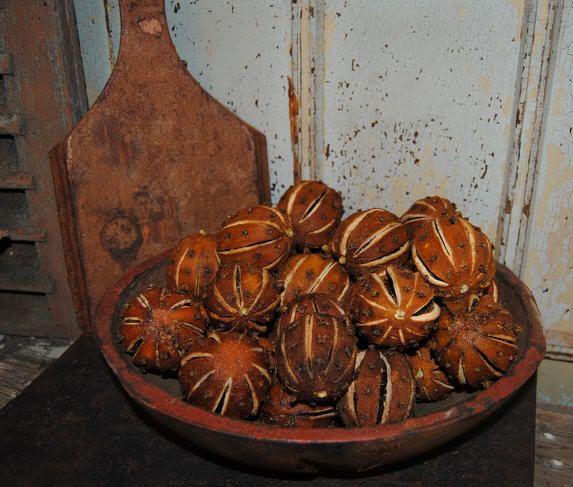 Primitive Dried Clove Studded Orange Pomanders | eBay