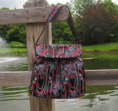 Floral Hobo Style Bag with Magnetic Flap Closure #sold