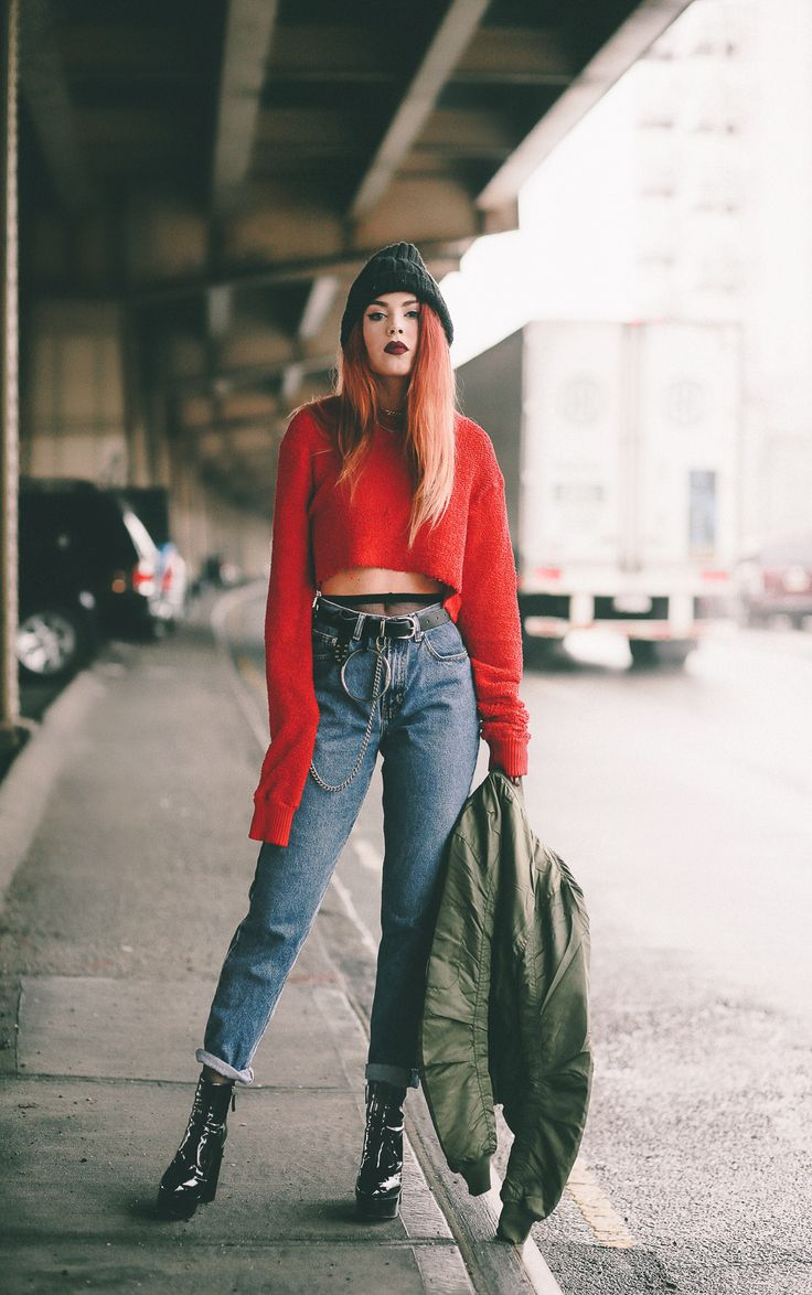 Cutting The Ties - LE HAPPY : LE HAPPY. Red cropped sweater+black tights+mom jeans+black boots+khaki bomber jacket+black knit beanie+chokers. Winter Casual Outfit 2017