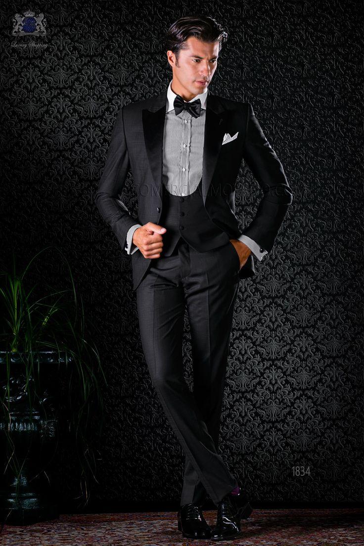 Tuxedo italienne noir avec revers de pointe et 1 bouton de satin. Tissu over check de laine. Tuxedo 1834 Collection Black Tie Ottavio Nuccio Gala.