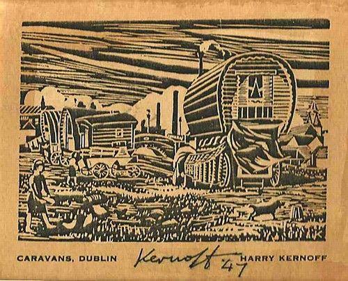 """Harry Kernoff, """"Caravan's Dublin"""" #art #caravan #dublin #woodcut #blackandwhite #DukeStreetGallery"""