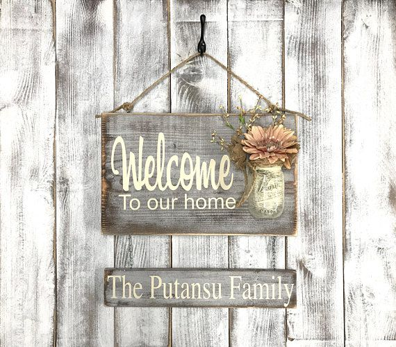 Welcome To Our Home Personalized Last Name Summer Outdoor Etsy Rustic Outdoor Signs Custom Rustic Wood Signs Mason Jar Sign