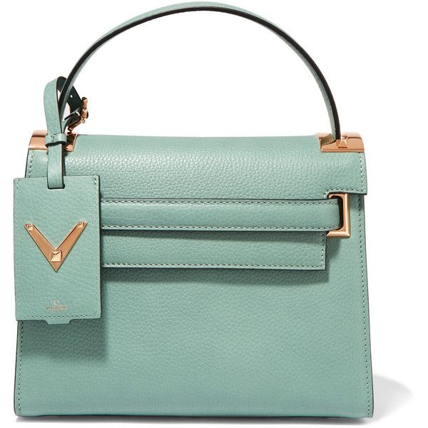 Valentino My Rockstud small textured-leather tote (€2.190) ❤ liked on Polyvore featuring bags, handbags, tote bags, mint, handbags totes, green tote bag, crossbody handbags, tote crossbody and green tote