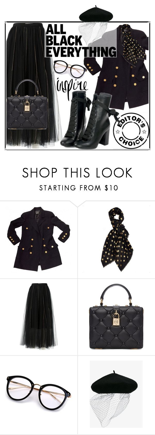 """""""Mission Monochrome: All-Black Outfit"""" by ella110 ❤ liked on Polyvore featuring Chanel, Dorothee Schumacher, Dolce&Gabbana, Silver Spoon Attire and allblackoutfit"""