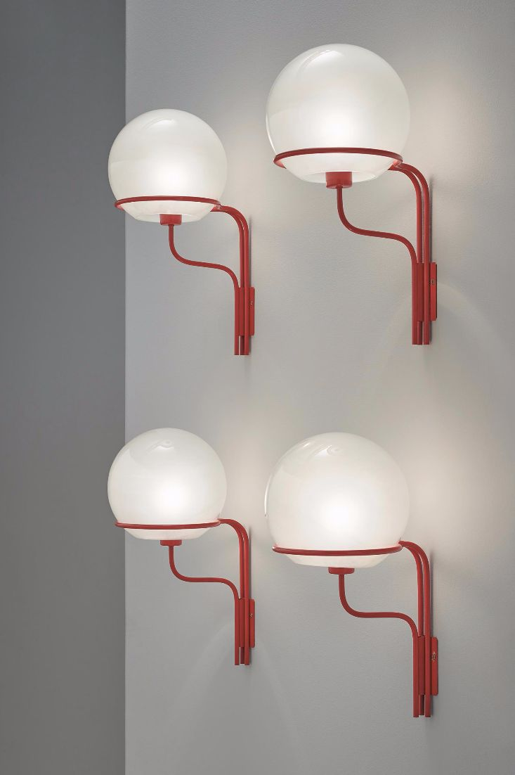 Ico Parisi; #256, Enameled Brass and Frosted Glass Wall Lights for Arteluce, 1964.