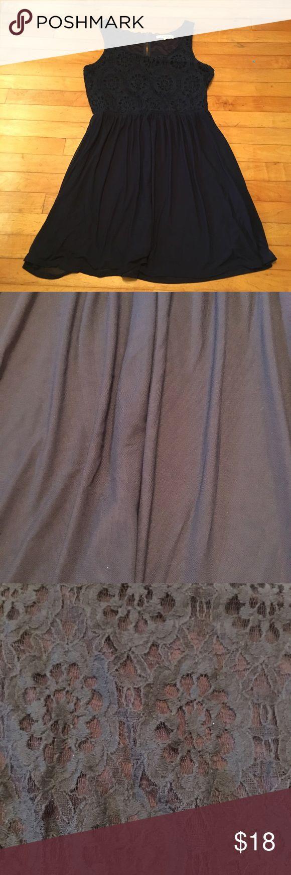 Navy Lace Top Mini Dress Lace top navy mini dress with soft  chiffon skirt, zipper on slight racerback. Some stretch. Juniors XL, runs small. Rewind Dresses Mini