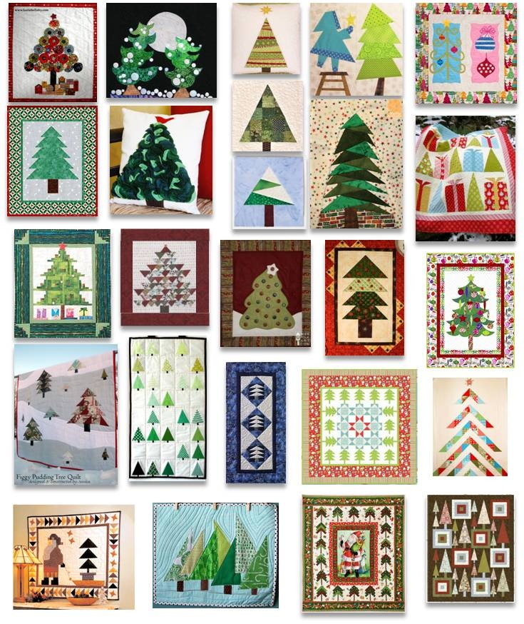 Christmas trees - designs for fused glass?  Seen here as quilt squares.