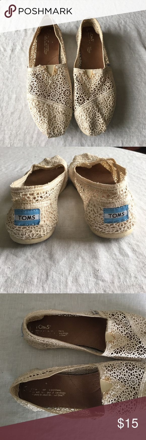 Cream crochet toms Worn less than 5 times! Great condition besides stain on both shoes where the elastic is (pictured) TOMS Shoes Flats & Loafers