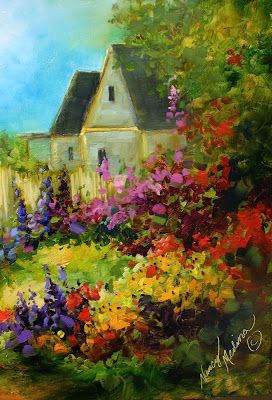 Nancy Medina Art: Tranquility Cottage Garden by Texas Flower Artist Nancy Medina