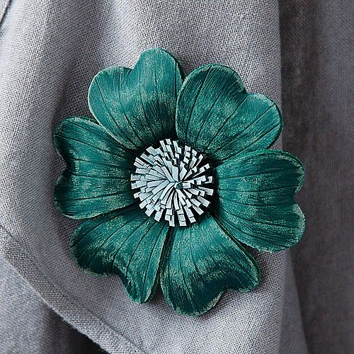 Leather brooch by Pia